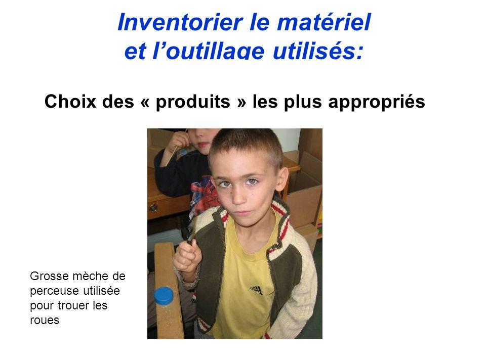 Inventorier le matériel et loutillage utilisés: Choix des « produits » les plus appropriés Grosse mèche de perceuse utilisée pour trouer les roues