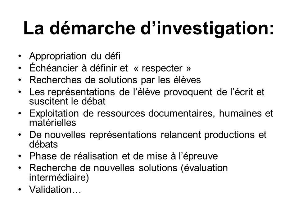 La démarche dinvestigation: Appropriation du défi Échéancier à définir et « respecter » Recherches de solutions par les élèves Les représentations de