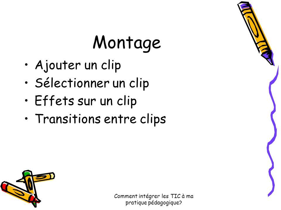 Montage Ajouter un clip Sélectionner un clip Effets sur un clip Transitions entre clips