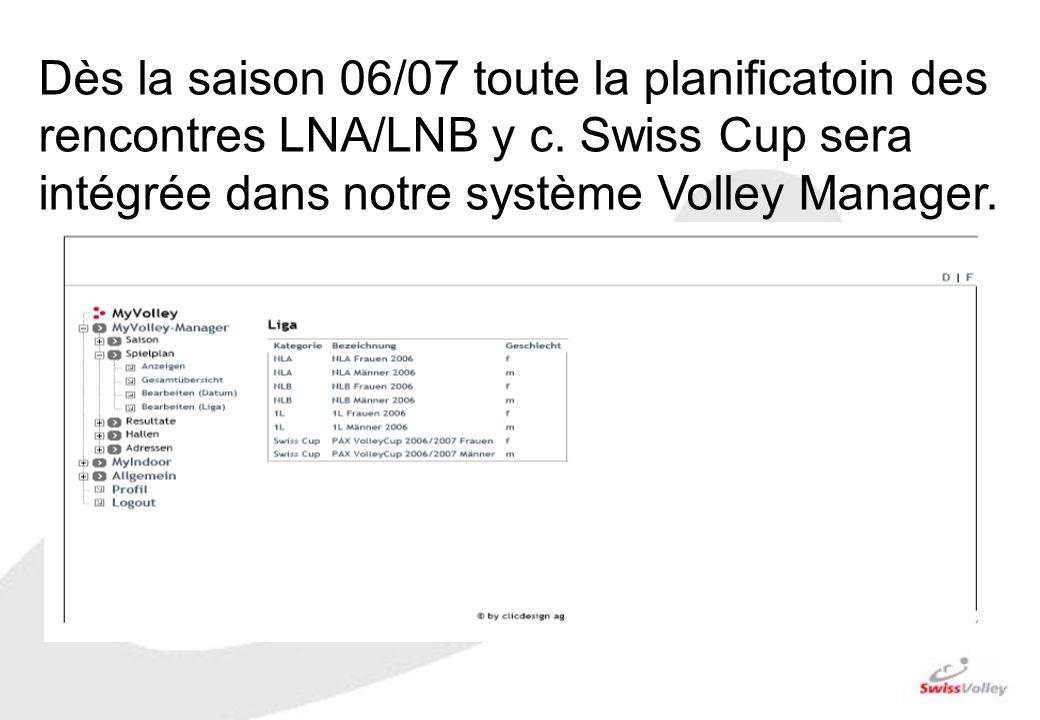 Dès la saison 06/07 toute la planificatoin des rencontres LNA/LNB y c. Swiss Cup sera intégrée dans notre système Volley Manager.
