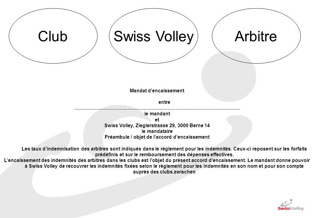 ClubSwiss VolleyArbitre Mandat dencaissement entre …………………………………………………………………………………………. le mandant et Swiss Volley, Zieglerstrasse 29, 3000 Berne 14 le