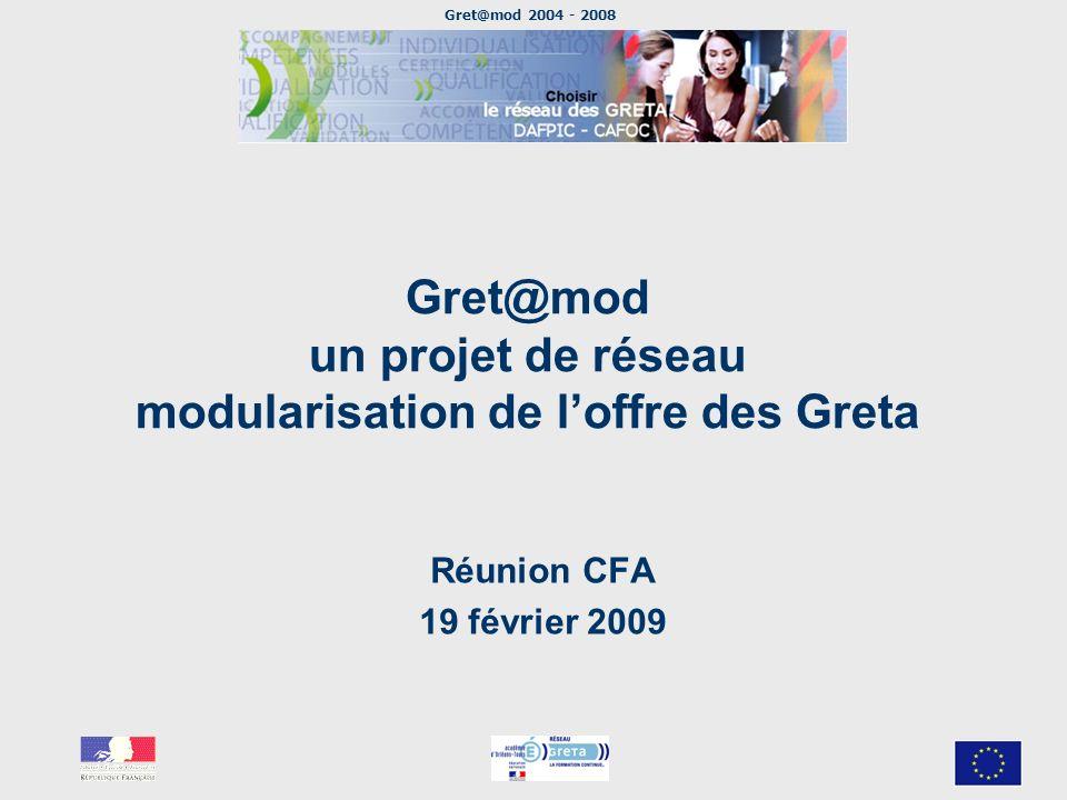 Gret@mod 2004 - 2008 Gret@mod un projet de réseau modularisation de loffre des Greta Réunion CFA 19 février 2009