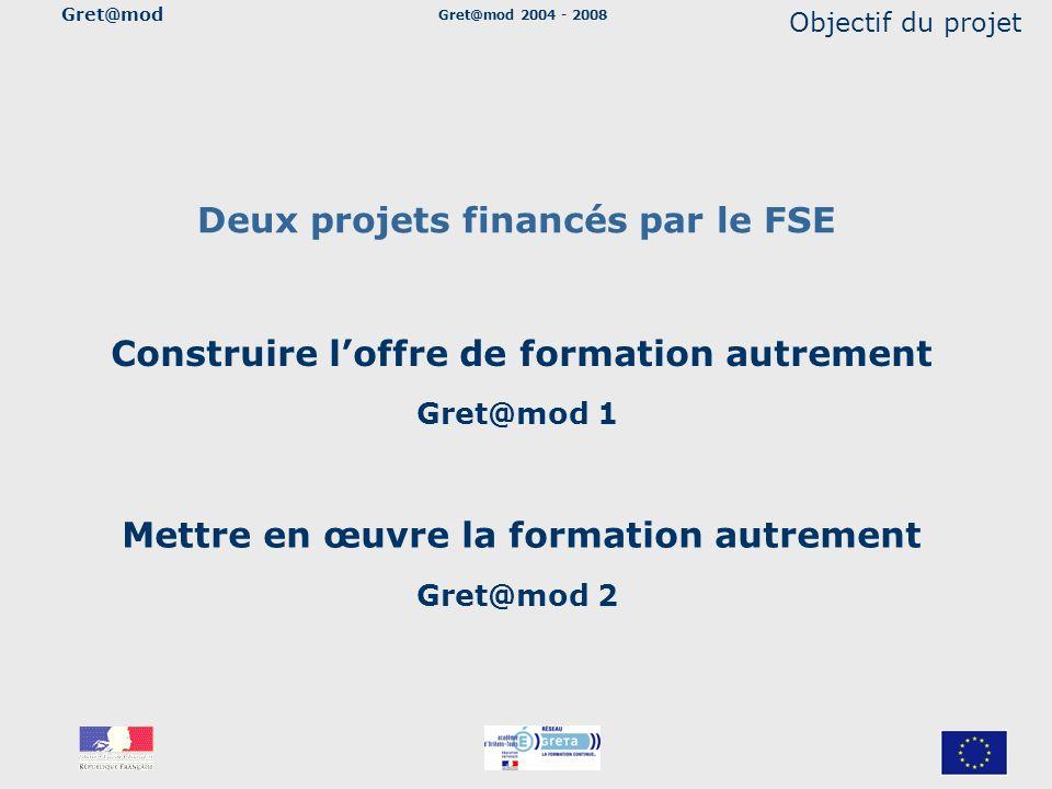 Gret@mod 2004 - 2008 Objectif du projet Deux projets financés par le FSE Construire loffre de formation autrement Gret@mod 1 Mettre en œuvre la format