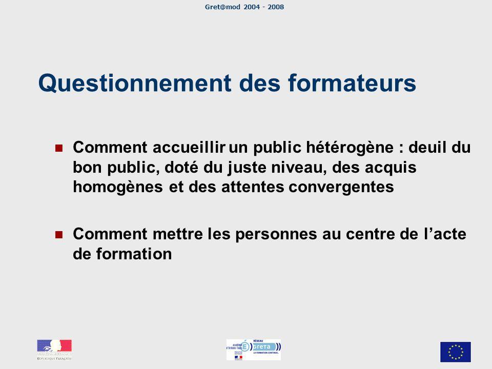 Gret@mod 2004 - 2008 Questionnement des formateurs Comment accueillir un public hétérogène : deuil du bon public, doté du juste niveau, des acquis hom