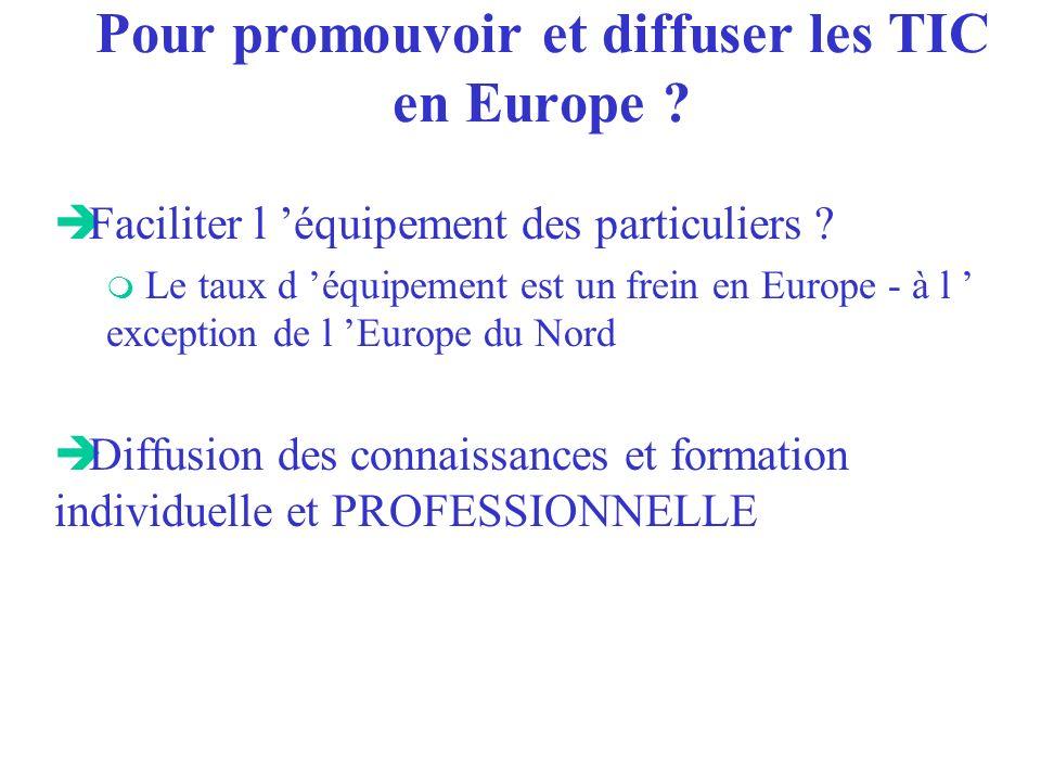 Pour promouvoir et diffuser les TIC en Europe ? è Faciliter l équipement des particuliers ? m Le taux d équipement est un frein en Europe - à l except