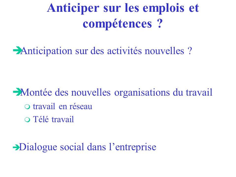 Anticiper sur les emplois et compétences . è Anticipation sur des activités nouvelles .
