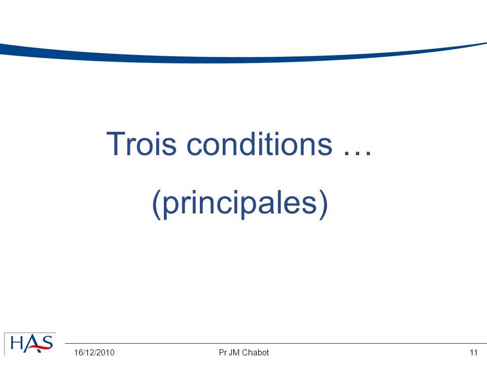 16/12/2010Pr JM Chabot11 Trois conditions … (principales)