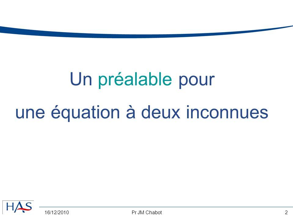 16/12/2010Pr JM Chabot2 Un préalable pour une équation à deux inconnues