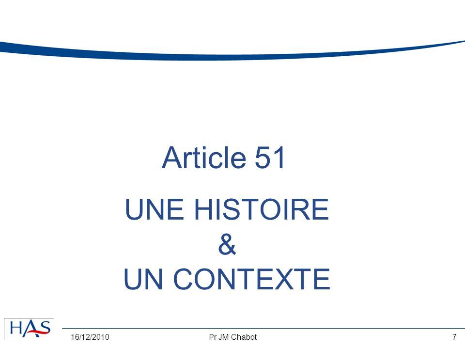 16/12/2010Pr JM Chabot7 UNE HISTOIRE & UN CONTEXTE Article 51