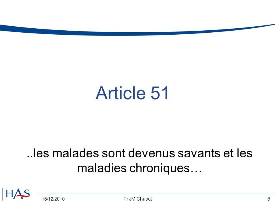 16/12/2010Pr JM Chabot9 Article 51 télémédecine nouveaux modes de rémunération LMD universitarisation redéfinitions de lexercice libéral