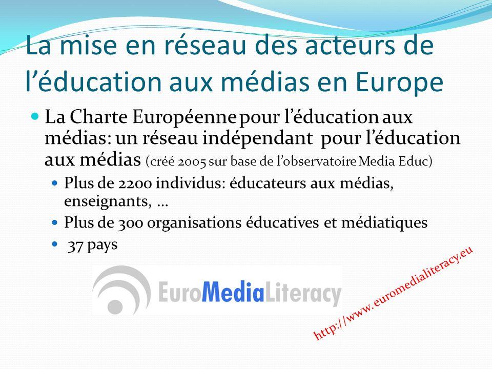 La mise en réseau des acteurs de léducation aux médias en Europe La Charte Européenne pour léducation aux médias: un réseau indépendant pour léducation aux médias (créé 2005 sur base de lobservatoire Media Educ) Plus de 2200 individus: éducateurs aux médias, enseignants, … Plus de 300 organisations éducatives et médiatiques 37 pays http://www.