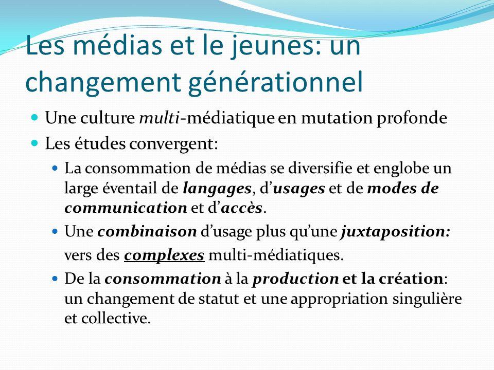Les médias et le jeunes: un changement générationnel Une culture multi-médiatique en mutation profonde Les études convergent: La consommation de médias se diversifie et englobe un large éventail de langages, dusages et de modes de communication et daccès.
