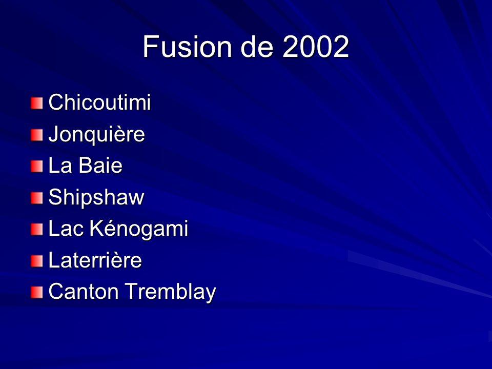 Fusion de 2002 ChicoutimiJonquière La Baie Shipshaw Lac Kénogami Laterrière Canton Tremblay