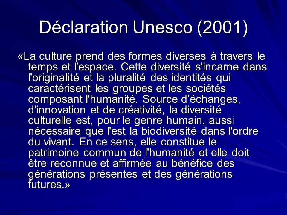 Déclaration Unesco (2001) «La culture prend des formes diverses à travers le temps et l espace.
