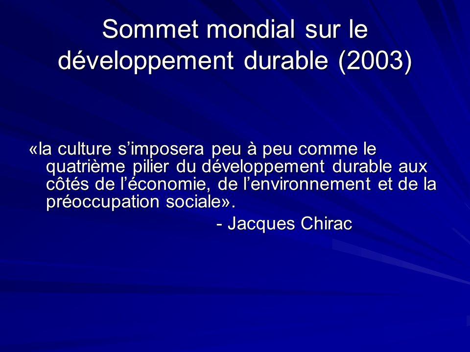 Sommet mondial sur le développement durable (2003) «la culture simposera peu à peu comme le quatrième pilier du développement durable aux côtés de léconomie, de lenvironnement et de la préoccupation sociale».