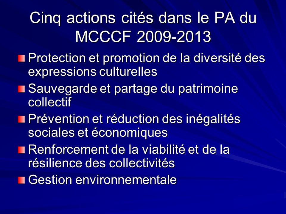 Cinq actions cités dans le PA du MCCCF 2009-2013 Protection et promotion de la diversité des expressions culturelles Sauvegarde et partage du patrimoine collectif Prévention et réduction des inégalités sociales et économiques Renforcement de la viabilité et de la résilience des collectivités Gestion environnementale