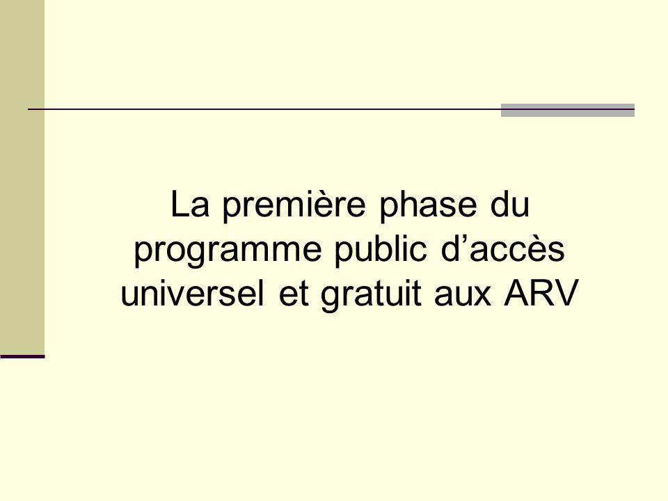 La première phase du programme public daccès universel et gratuit aux ARV