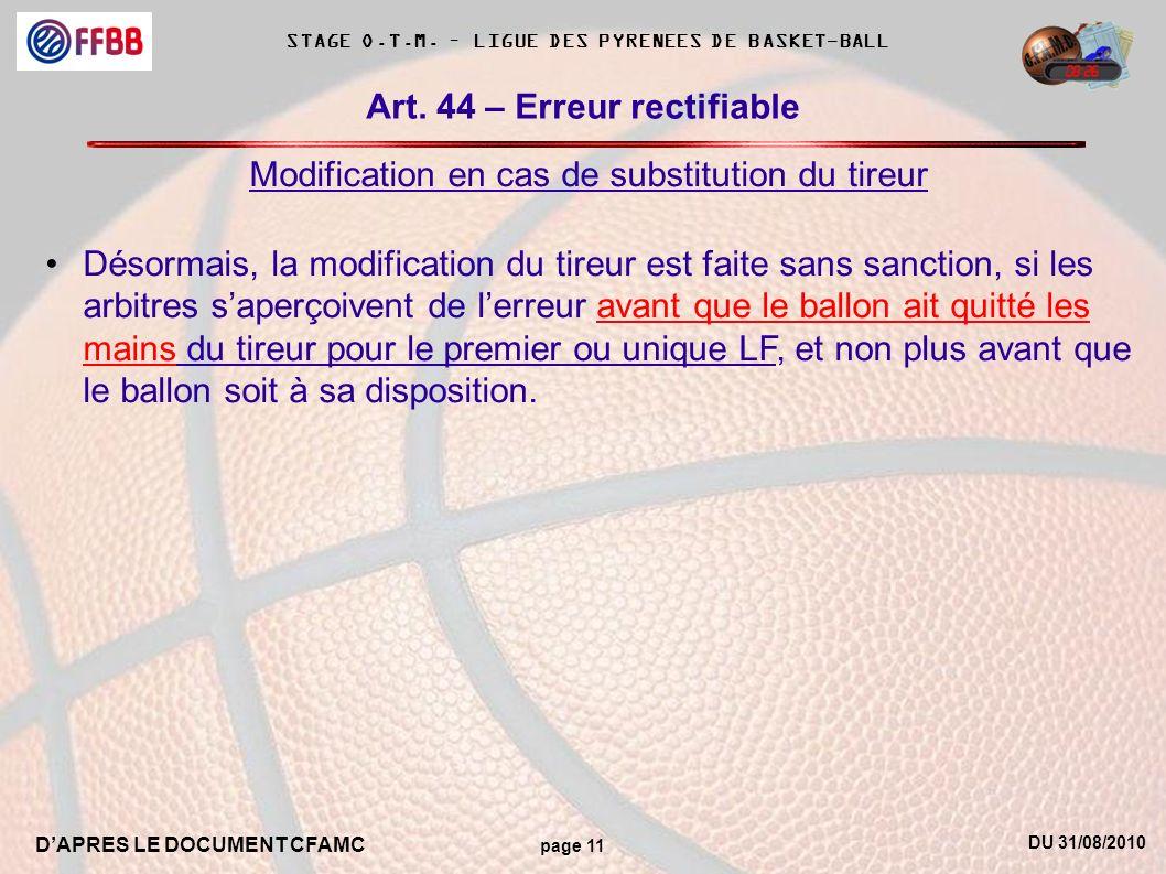 DU 31/08/2010 DAPRES LE DOCUMENT CFAMC page 11 STAGE O.T.M. – LIGUE DES PYRENEES DE BASKET-BALL Art. 44 – Erreur rectifiable Modification en cas de su