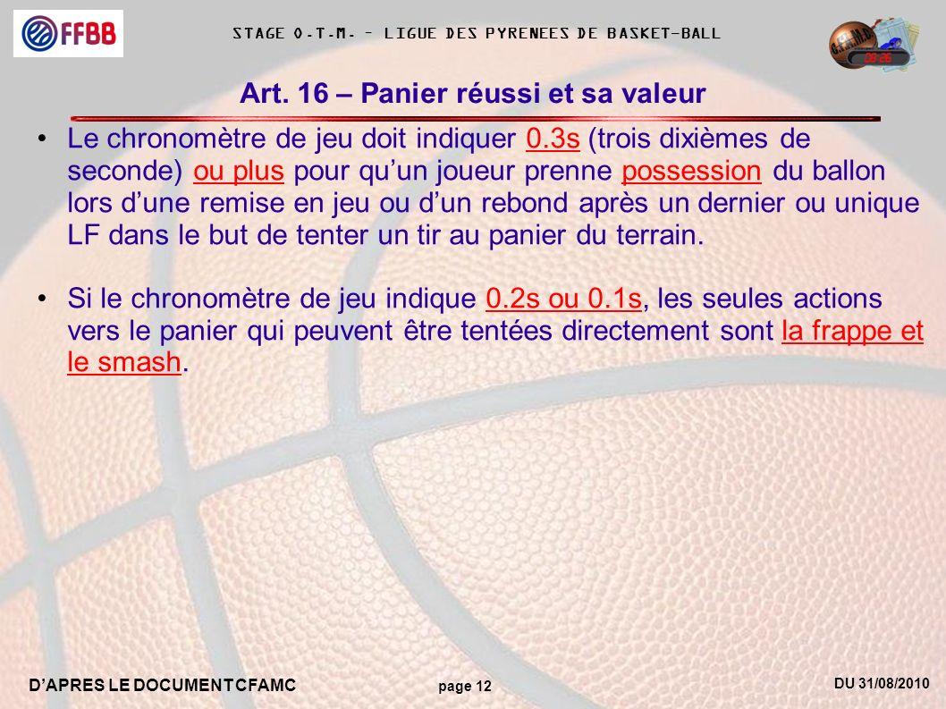 DU 31/08/2010 DAPRES LE DOCUMENT CFAMC page 12 STAGE O.T.M. – LIGUE DES PYRENEES DE BASKET-BALL Art. 16 – Panier réussi et sa valeur Le chronomètre de