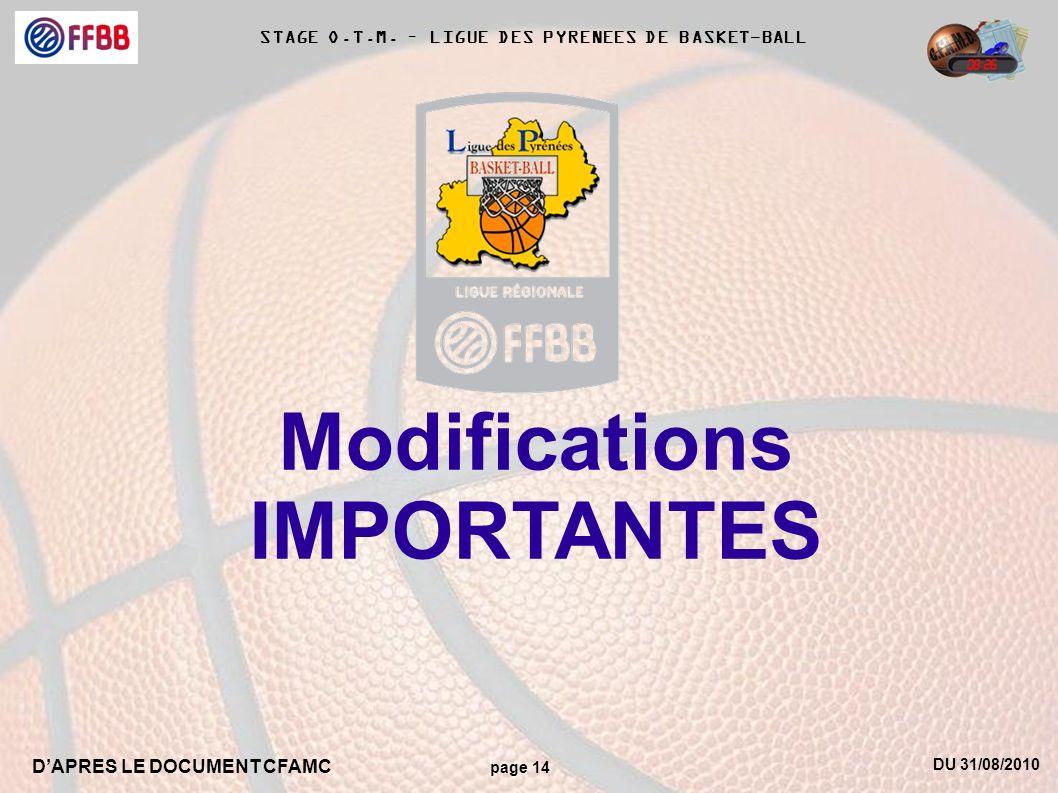 DU 31/08/2010 DAPRES LE DOCUMENT CFAMC page 14 STAGE O.T.M. – LIGUE DES PYRENEES DE BASKET-BALL Modifications IMPORTANTES