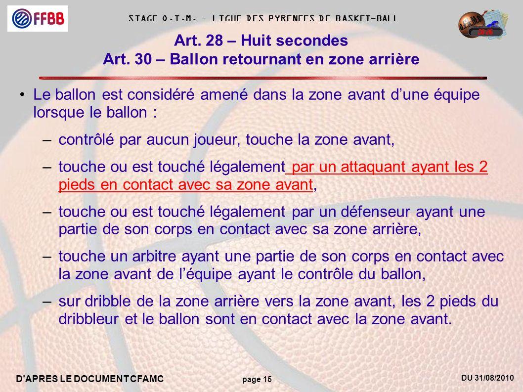 DU 31/08/2010 DAPRES LE DOCUMENT CFAMC page 15 STAGE O.T.M. – LIGUE DES PYRENEES DE BASKET-BALL Art. 30 – Ballon retournant en zone arrière Art. 28 –