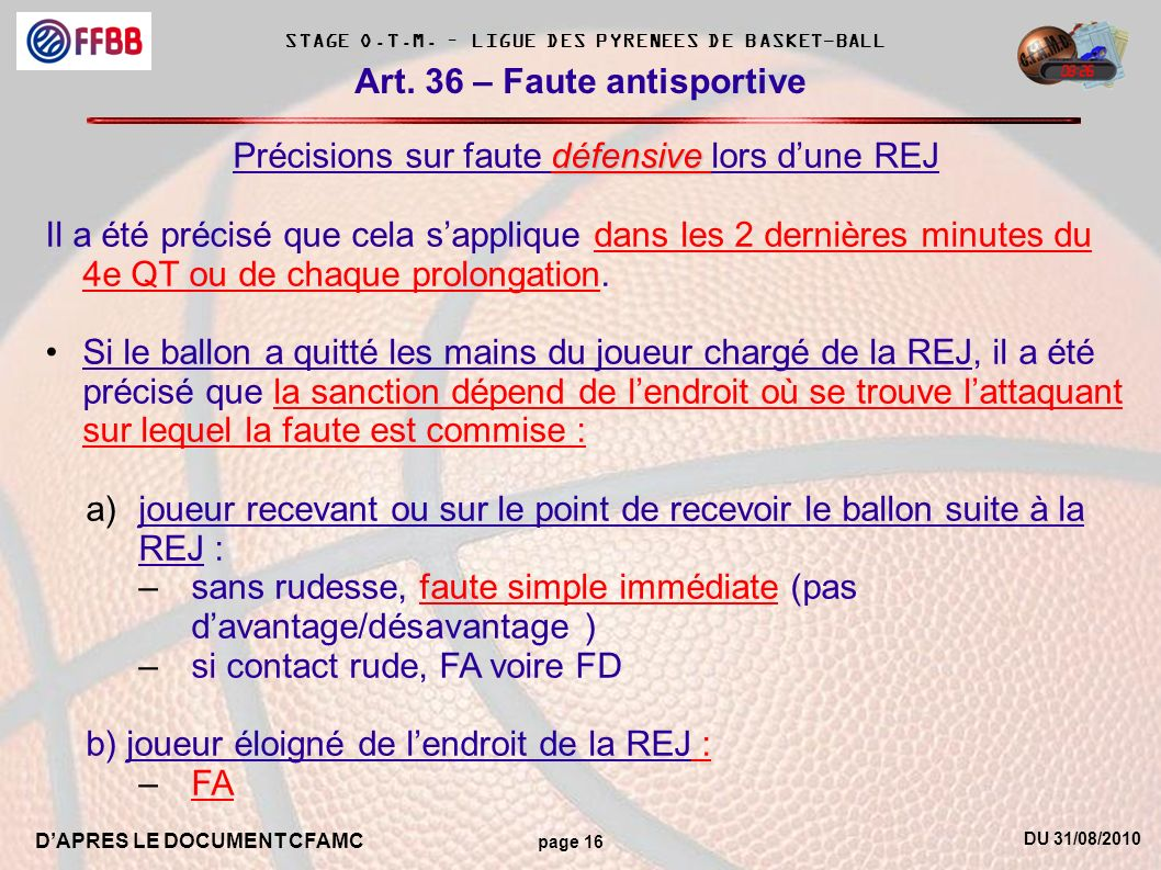 DU 31/08/2010 DAPRES LE DOCUMENT CFAMC page 16 STAGE O.T.M.