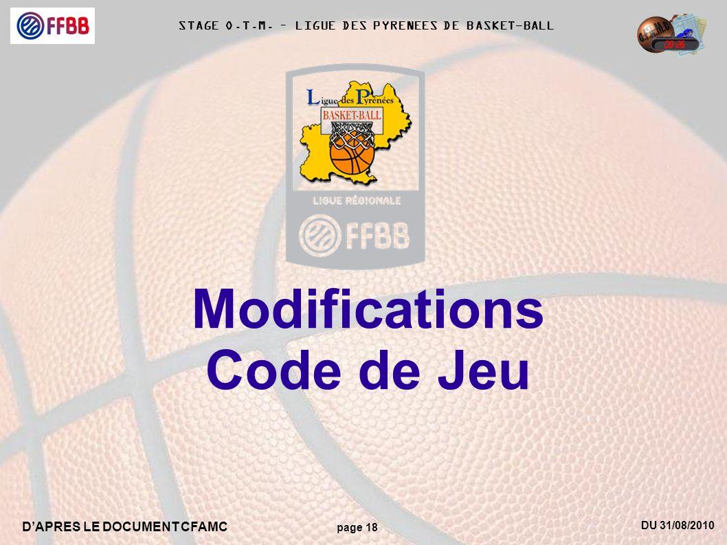 DU 31/08/2010 DAPRES LE DOCUMENT CFAMC page 18 STAGE O.T.M. – LIGUE DES PYRENEES DE BASKET-BALL Modifications Code de Jeu