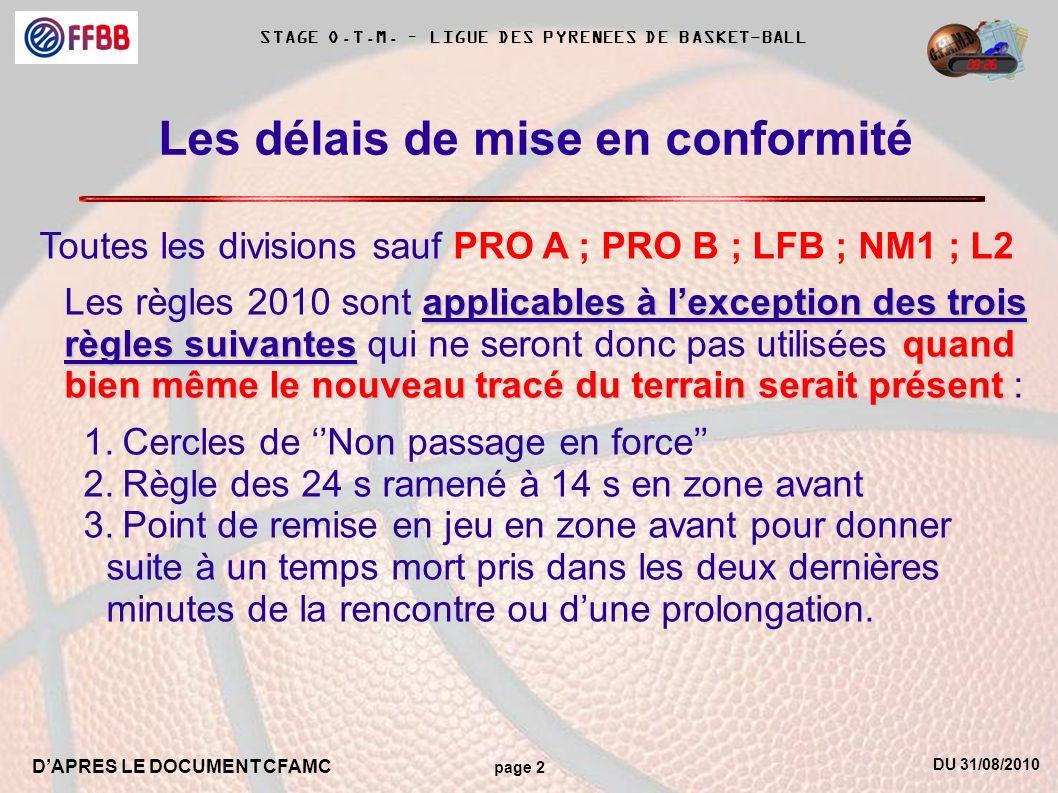 DU 31/08/2010 DAPRES LE DOCUMENT CFAMC page 2 STAGE O.T.M. – LIGUE DES PYRENEES DE BASKET-BALL Les délais de mise en conformité Toutes les divisions s