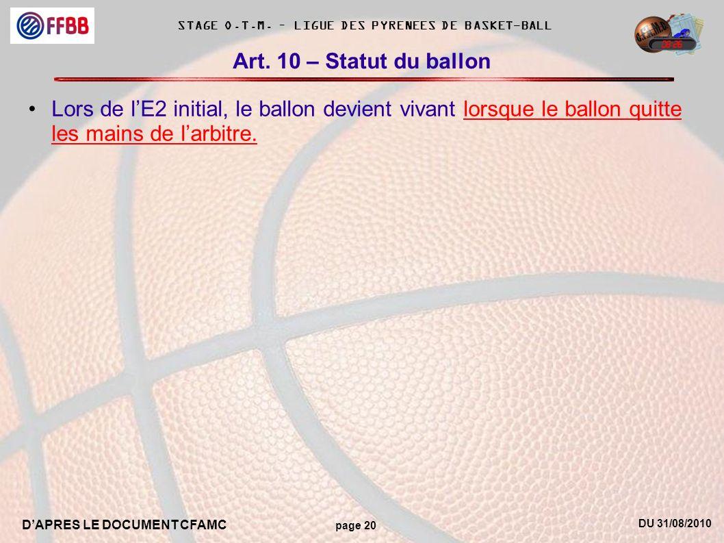 DU 31/08/2010 DAPRES LE DOCUMENT CFAMC page 20 STAGE O.T.M. – LIGUE DES PYRENEES DE BASKET-BALL Art. 10 – Statut du ballon Lors de lE2 initial, le bal