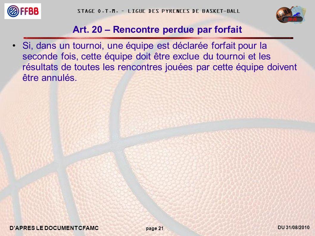 DU 31/08/2010 DAPRES LE DOCUMENT CFAMC page 21 STAGE O.T.M. – LIGUE DES PYRENEES DE BASKET-BALL Art. 20 – Rencontre perdue par forfait Si, dans un tou