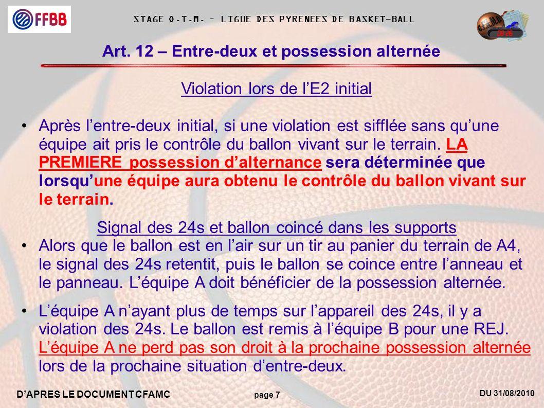 DU 31/08/2010 DAPRES LE DOCUMENT CFAMC page 7 STAGE O.T.M. – LIGUE DES PYRENEES DE BASKET-BALL Art. 12 – Entre-deux et possession alternée Violation l