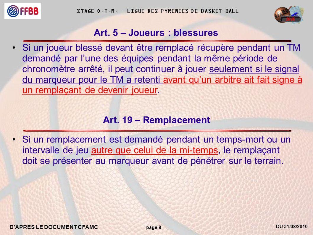 DU 31/08/2010 DAPRES LE DOCUMENT CFAMC page 8 STAGE O.T.M. – LIGUE DES PYRENEES DE BASKET-BALL Art. 5 – Joueurs : blessures Si un joueur blessé devant