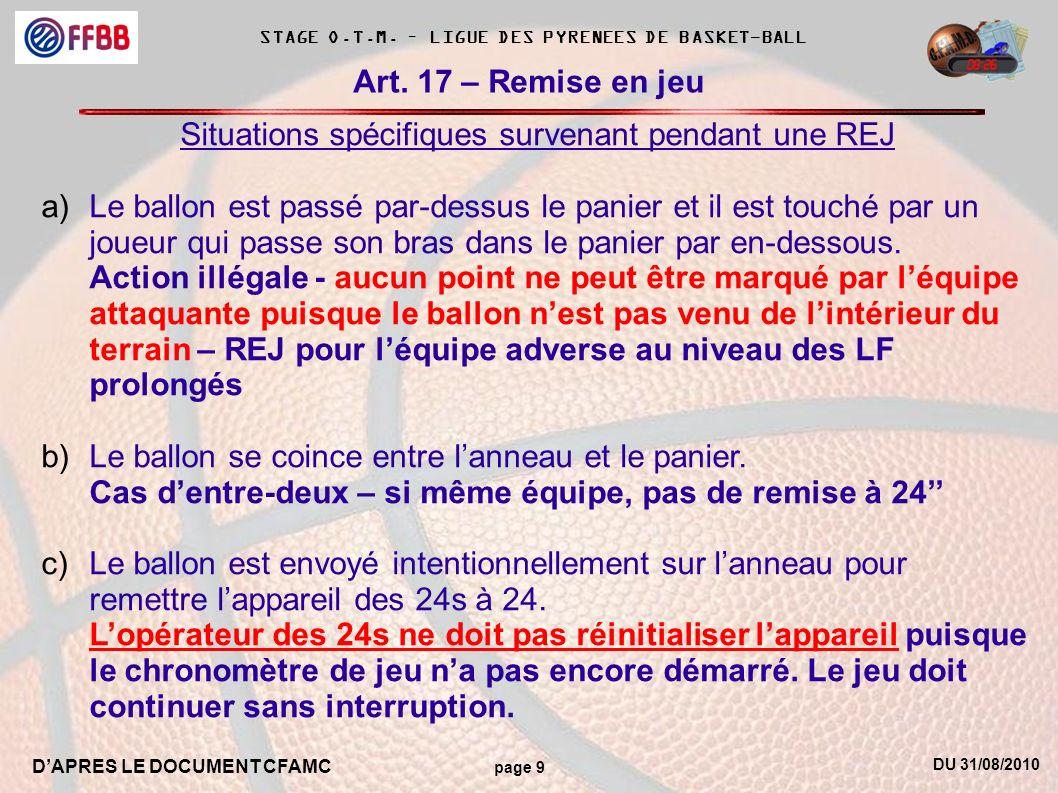 DU 31/08/2010 DAPRES LE DOCUMENT CFAMC page 9 STAGE O.T.M. – LIGUE DES PYRENEES DE BASKET-BALL Art. 17 – Remise en jeu Situations spécifiques survenan