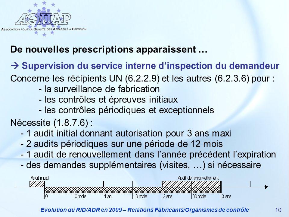 Evolution du RID/ADR en 2009 – Relations Fabricants/Organismes de contrôle 10 De nouvelles prescriptions apparaissent … Supervision du service interne