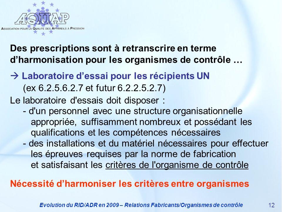 Evolution du RID/ADR en 2009 – Relations Fabricants/Organismes de contrôle 12 Des prescriptions sont à retranscrire en terme dharmonisation pour les o