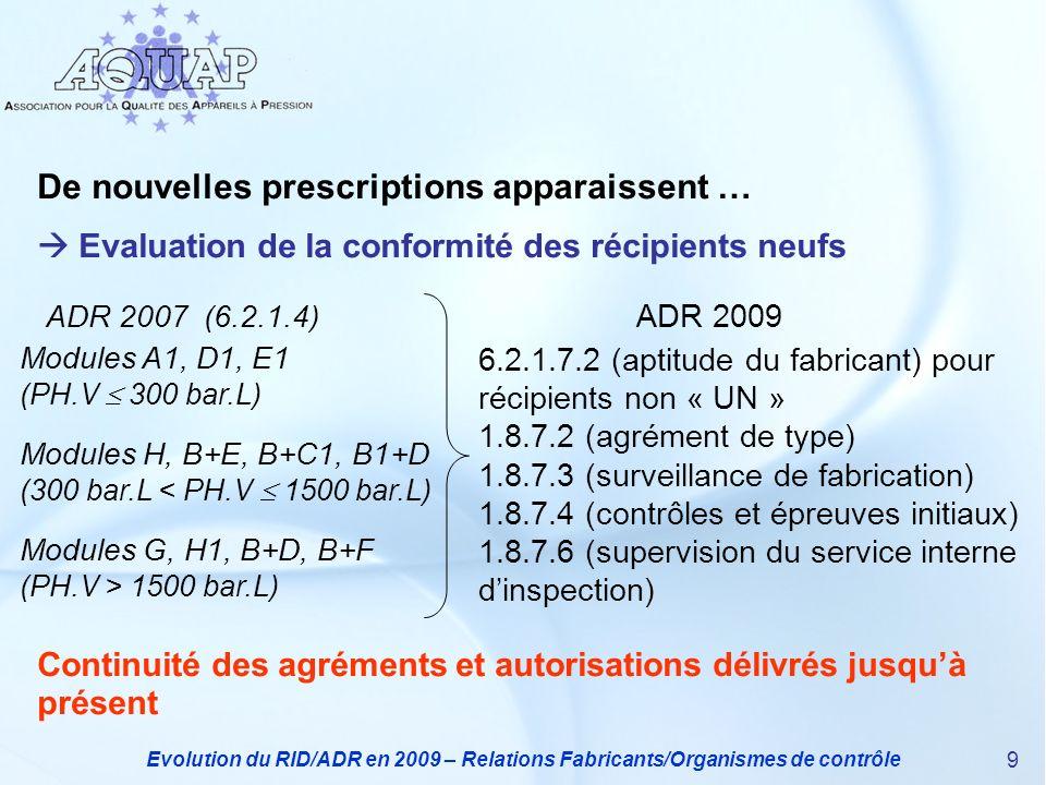 Evolution du RID/ADR en 2009 – Relations Fabricants/Organismes de contrôle 10 De nouvelles prescriptions apparaissent … Supervision du service interne dinspection du demandeur Concerne les récipients UN (6.2.2.9) et les autres (6.2.3.6) pour : - la surveillance de fabrication - les contrôles et épreuves initiaux - les contrôles périodiques et exceptionnels Nécessite (1.8.7.6) : - 1 audit initial donnant autorisation pour 3 ans maxi - 2 audits périodiques sur une période de 12 mois - 1 audit de renouvellement dans lannée précédent lexpiration - des demandes supplémentaires (visites, …) si nécessaire