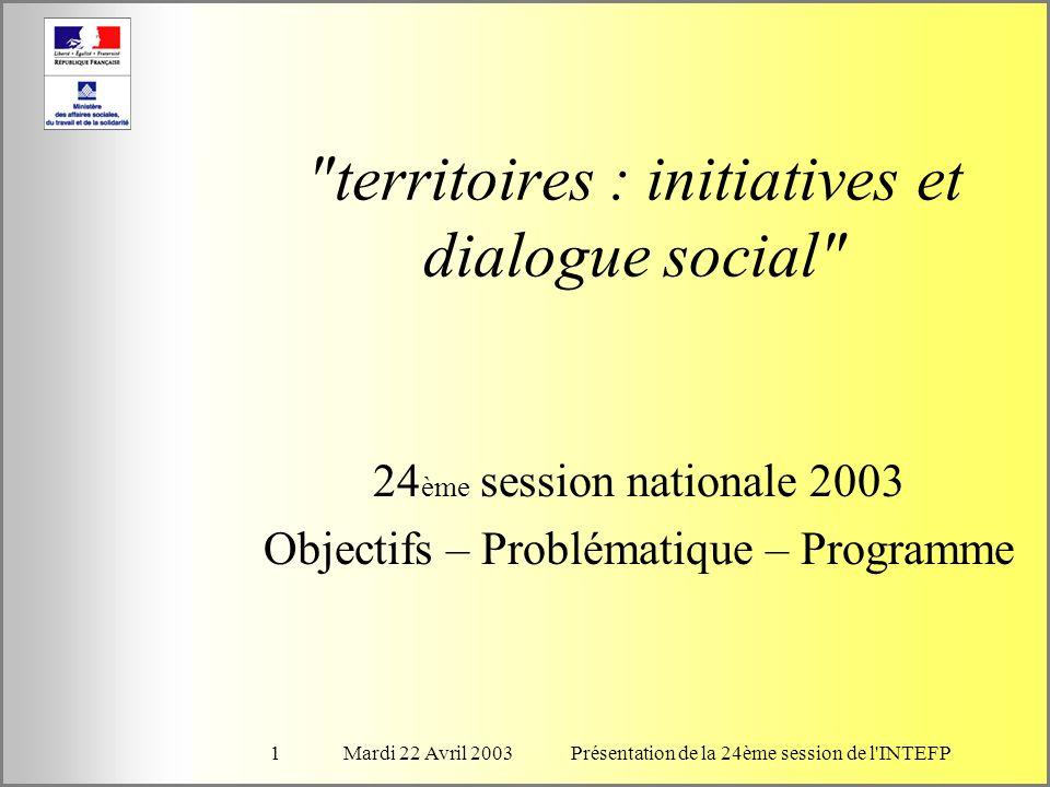 Mardi 22 Avril 2003Présentation de la 24ème session de l INTEFP1 territoires : initiatives et dialogue social 24 ème session nationale 2003 Objectifs – Problématique – Programme