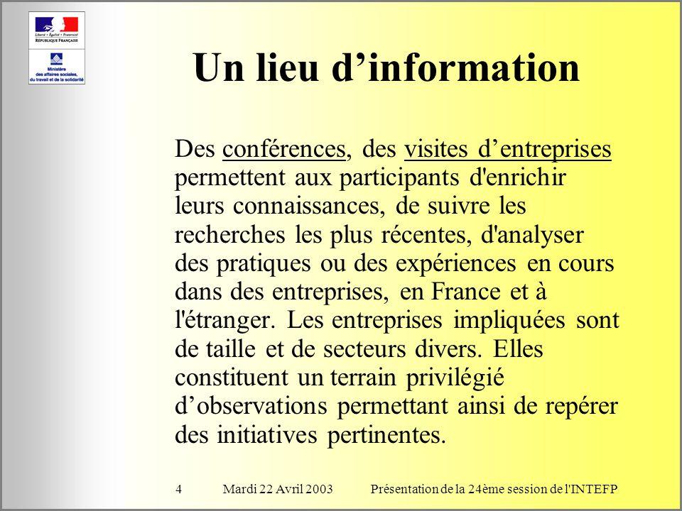 Mardi 22 Avril 2003Présentation de la 24ème session de l INTEFP4 Un lieu dinformation Des conférences, des visites dentreprises permettent aux participants d enrichir leurs connaissances, de suivre les recherches les plus récentes, d analyser des pratiques ou des expériences en cours dans des entreprises, en France et à l étranger.