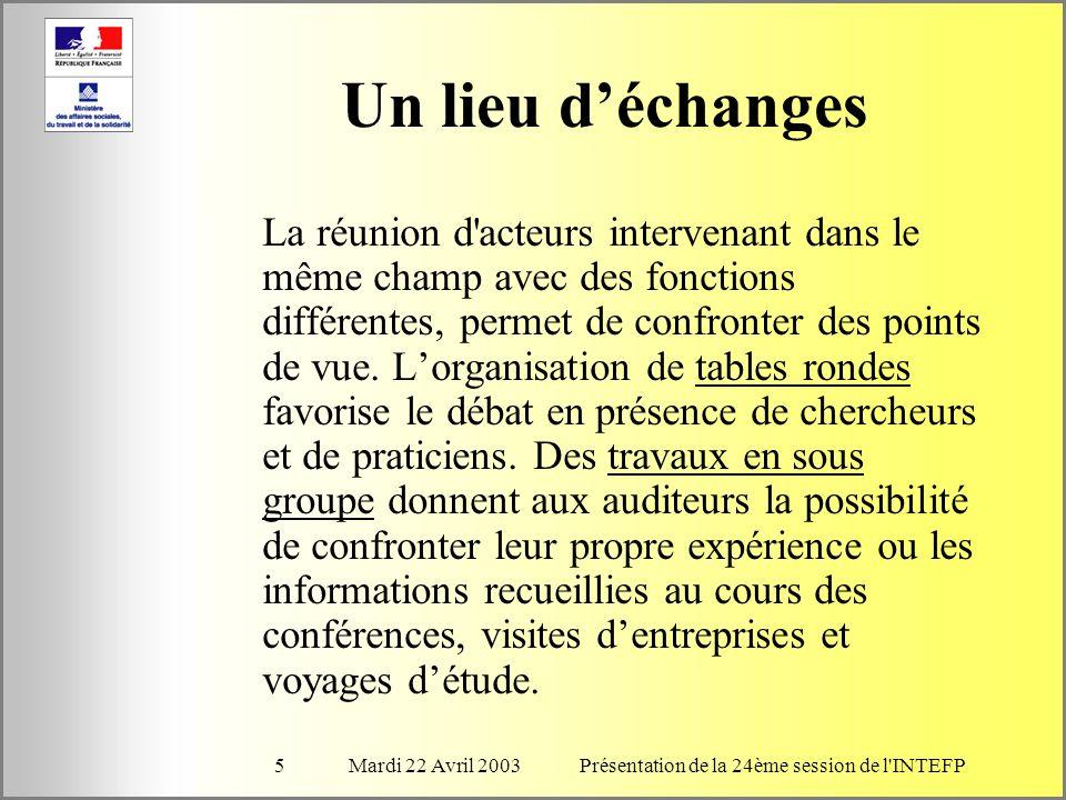 Mardi 22 Avril 2003Présentation de la 24ème session de l INTEFP6 Un lieu de réflexion La rencontre de chefs d entreprises, de chercheurs, d universitaires, de responsables d organisations syndicales et patronales, délus, de journalistes, l analyse de pratiques françaises et étrangères ouvrent la voie à une réflexion globale sur les problématiques et enjeux des thèmes traités.