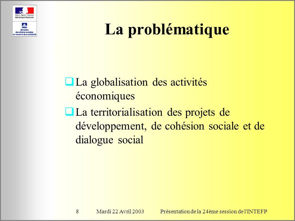 Mardi 22 Avril 2003Présentation de la 24ème session de l INTEFP8 La problématique La globalisation des activités économiques La territorialisation des projets de développement, de cohésion sociale et de dialogue social