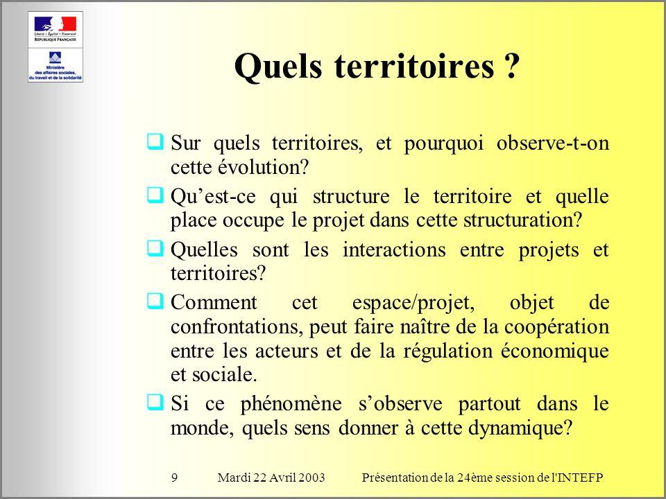 Mardi 22 Avril 2003Présentation de la 24ème session de l INTEFP10 Quel dialogue .