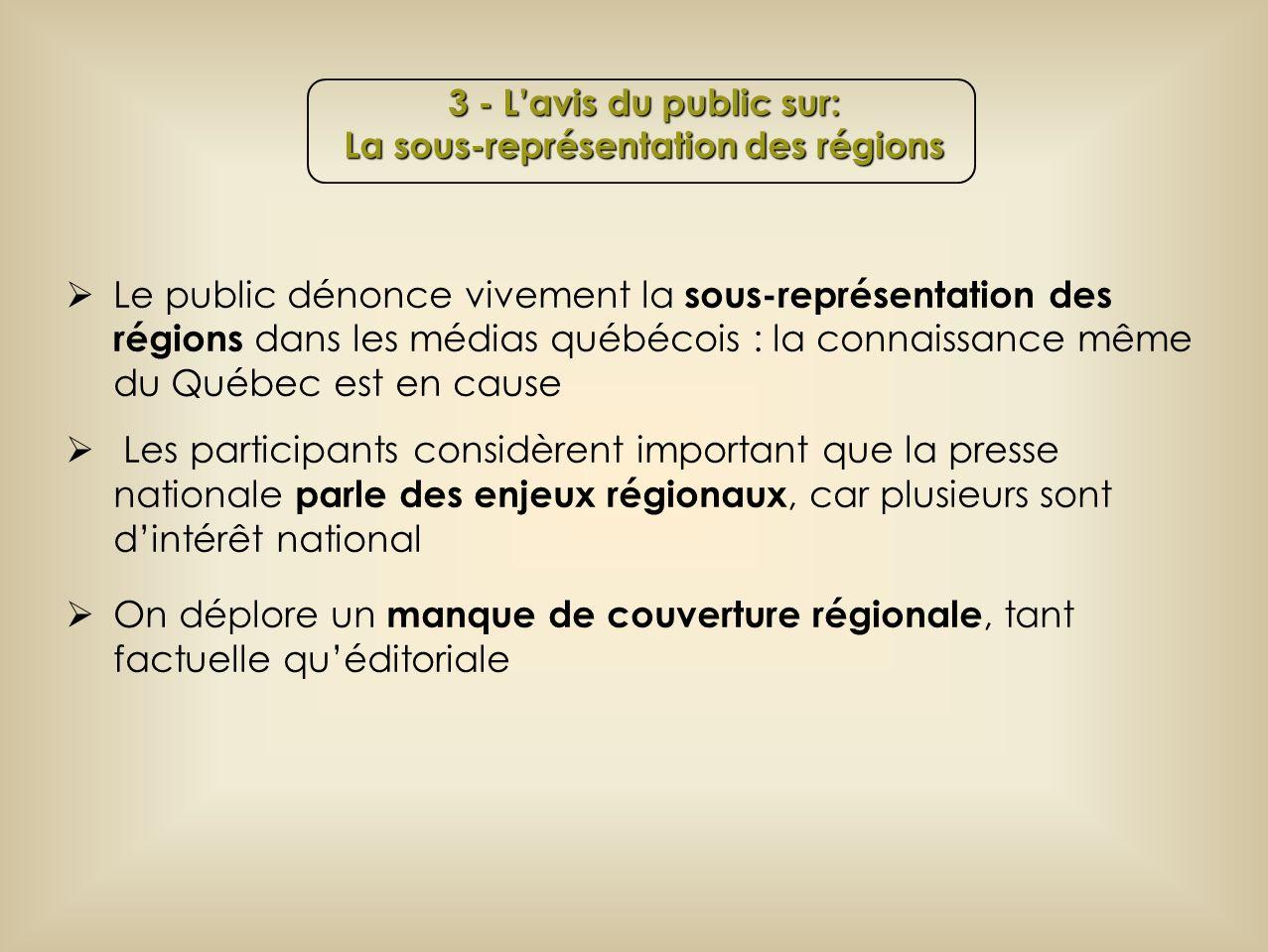 Le public dénonce vivement la sous-représentation des régions dans les médias québécois : la connaissance même du Québec est en cause Les participants considèrent important que la presse nationale parle des enjeux régionaux, car plusieurs sont dintérêt national On déplore un manque de couverture régionale, tant factuelle quéditoriale 3 - Lavis du public sur: La sous-représentation des régions