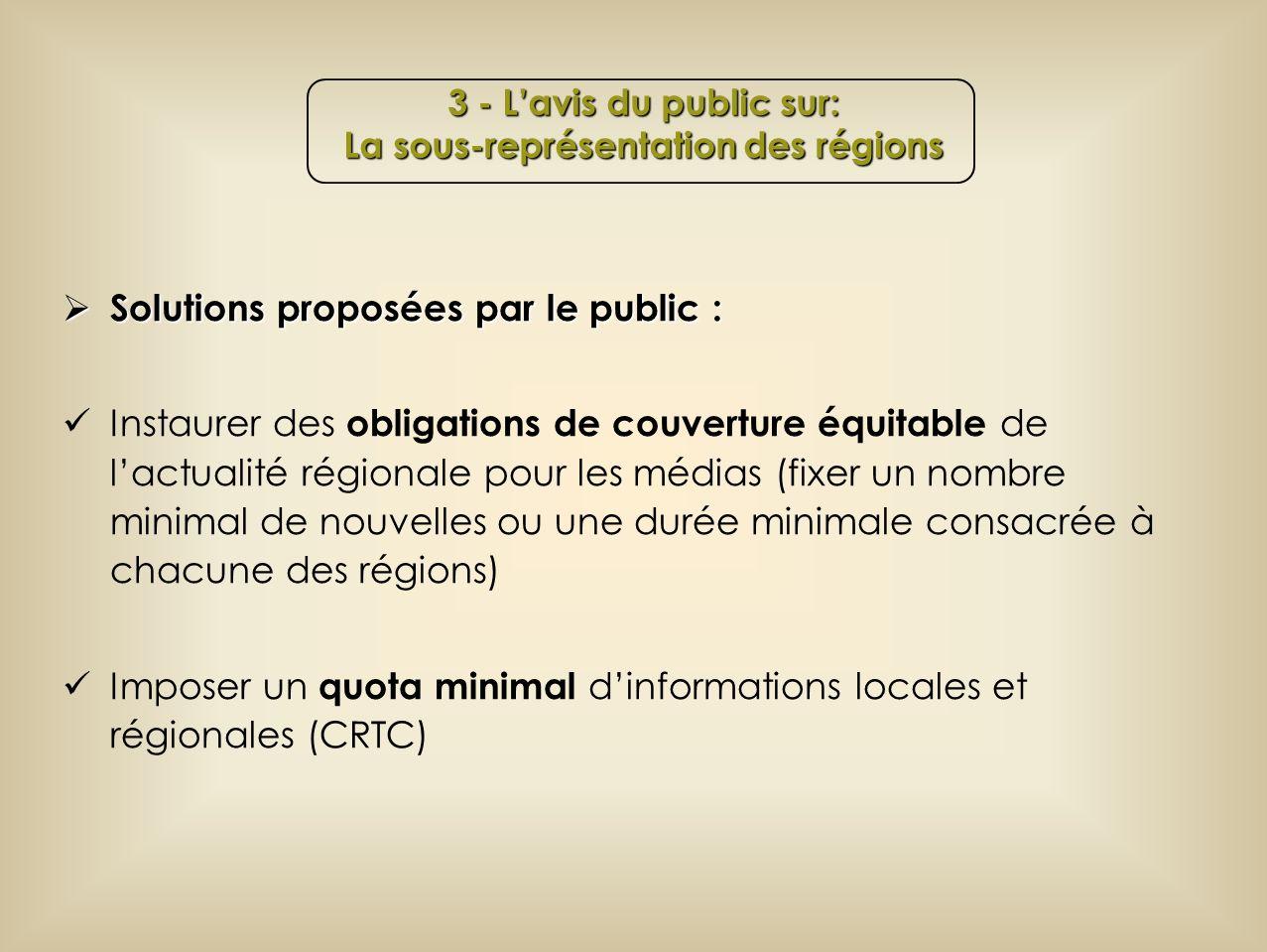 Solutions proposées par le public : Solutions proposées par le public : Instaurer des obligations de couverture équitable de lactualité régionale pour