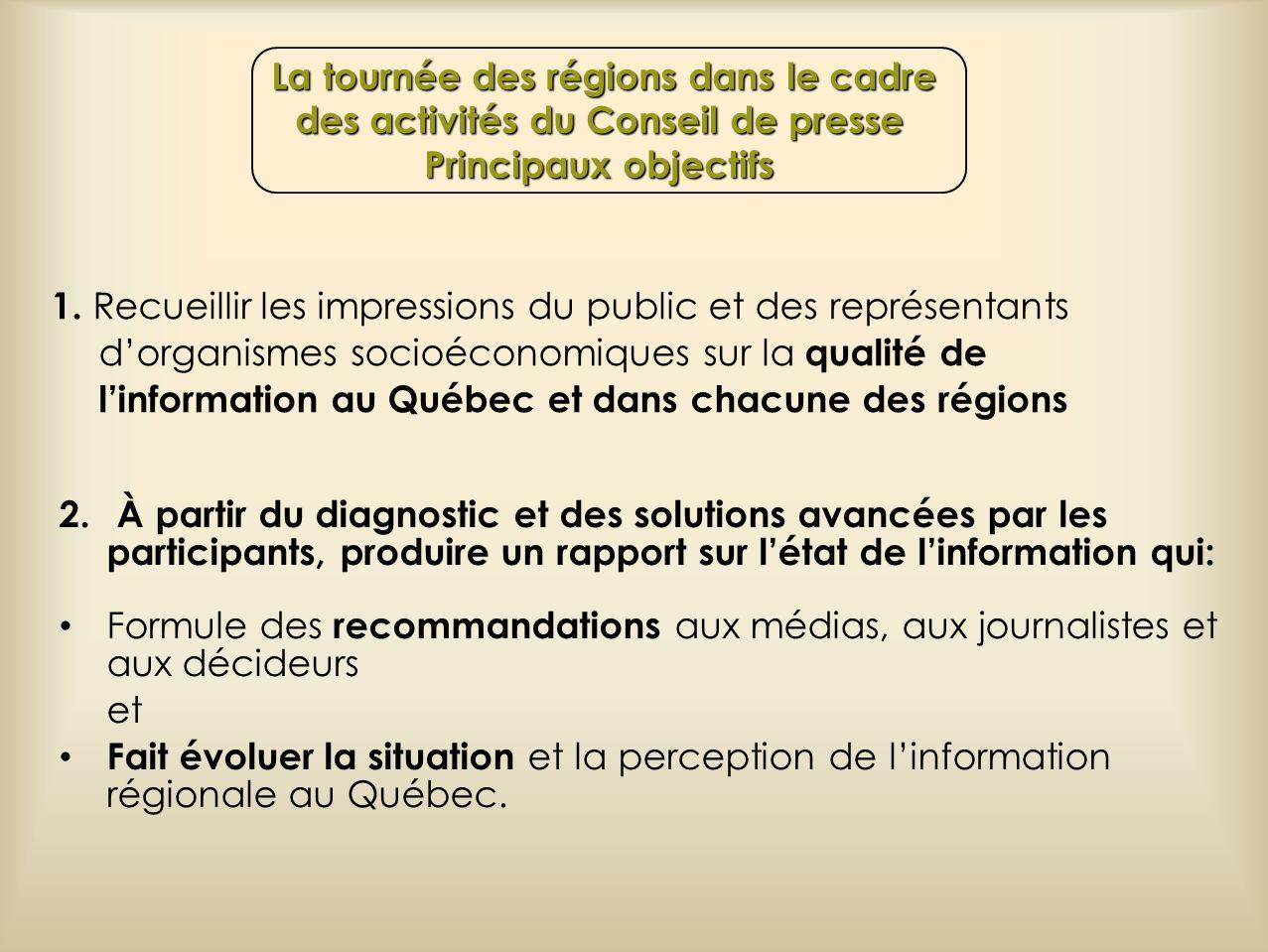 La tournée des régions dans le cadre des activités du Conseil de presse Principaux objectifs La tournée des régions dans le cadre des activités du Con
