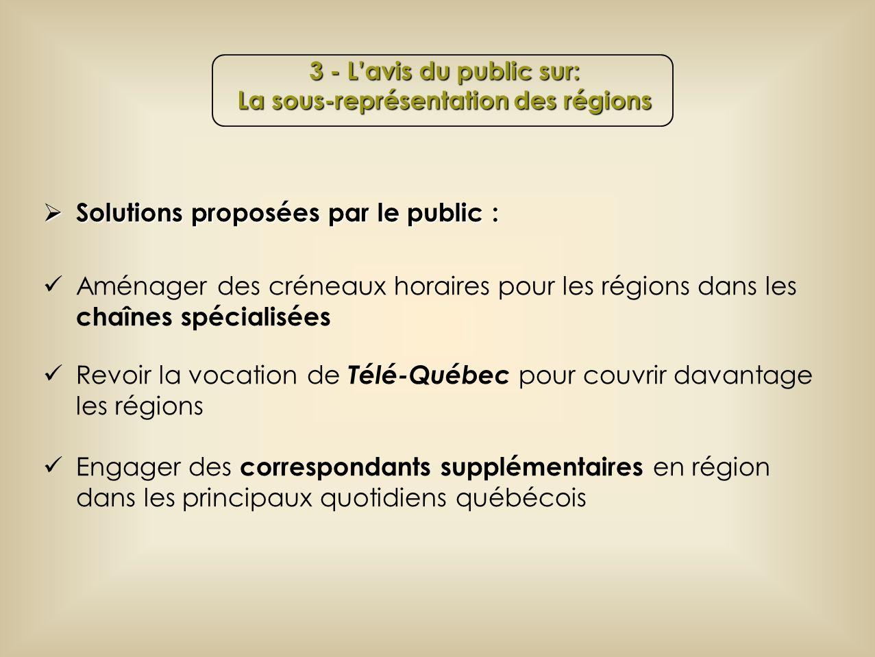 Solutions proposées par le public : Solutions proposées par le public : Aménager des créneaux horaires pour les régions dans les chaînes spécialisées