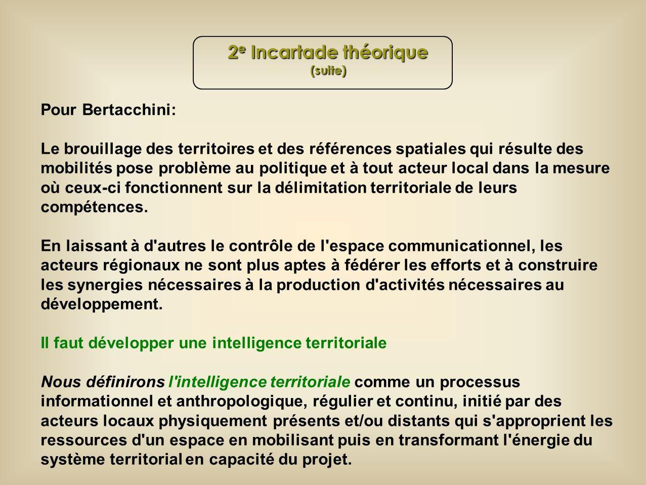 Pour Bertacchini: Le brouillage des territoires et des références spatiales qui résulte des mobilités pose problème au politique et à tout acteur local dans la mesure où ceux-ci fonctionnent sur la délimitation territoriale de leurs compétences.