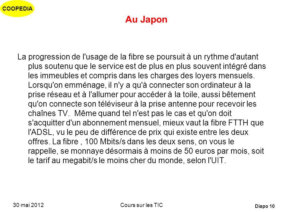 COOPEDIA 30 mai 2012Cours sur les TIC Diapo 9 Haut débit pour les ménages La quasi-totalité des foyers nippons sont abonnés à internet, et la moitié l