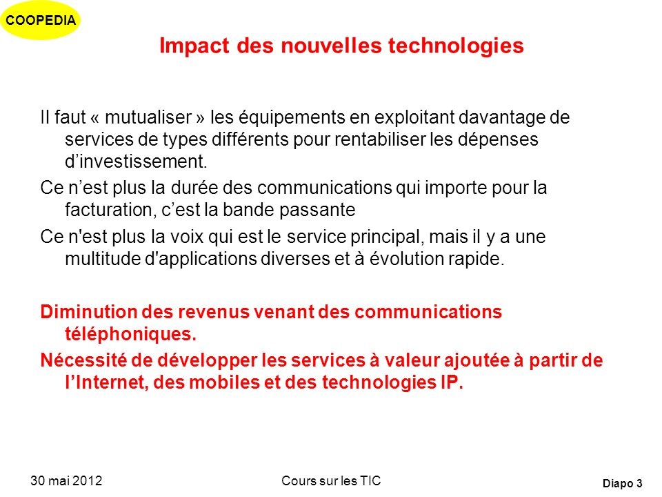 COOPEDIA 30 mai 2012Cours sur les TIC Diapo 53 Which technology to use for the last mile.