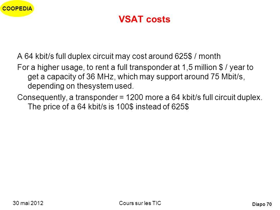 COOPEDIA 30 mai 2012Cours sur les TIC Diapo 69 Satellites Miniaturisation des antennes : VSAT, INMARSAT Convergence avec les mobiles : GPS, GMPCS Émer