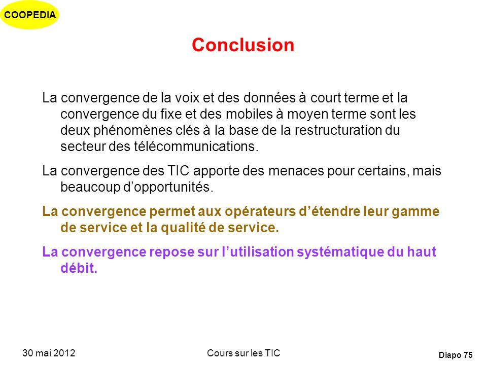 COOPEDIA 30 mai 2012Cours sur les TIC Diapo 74 Conclusion: Impact pour les opérateurs Les tarifs sont basés sur des packages doffres groupées: « les b